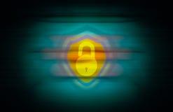 Κίτρινη ανοικτή κλειδαριά και μια ασπίδα που συγχωνεύεται στο άνευ ραφής αφηρημένο υπόβαθρο Στοκ Εικόνα