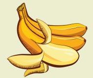 Κίτρινη απεικόνιση μπανανών που απομονώνεται για το σχέδιο Στοκ φωτογραφία με δικαίωμα ελεύθερης χρήσης