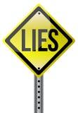 Κίτρινη απεικόνιση σημαδιών οδών ψεμάτων Στοκ Εικόνες