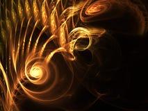 Κίτρινη αφηρημένη fractal τρισδιάστατη δίνοντας απεικόνιση υποβάθρου απεικόνιση αποθεμάτων