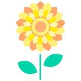Κίτρινη επίπεδη απεικόνιση λουλουδιών Στοκ εικόνα με δικαίωμα ελεύθερης χρήσης