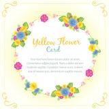 Κίτρινη κάρτα λουλουδιών διανυσματική απεικόνιση