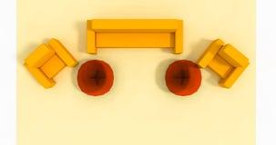 Κίτρινη καθορισμένη τρισδιάστατη απεικόνιση επίπλων Στοκ φωτογραφία με δικαίωμα ελεύθερης χρήσης