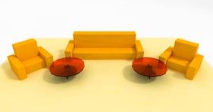 Κίτρινη καθορισμένη τρισδιάστατη απεικόνιση επίπλων Στοκ Εικόνες