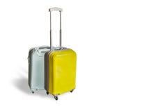 Κίτρινη και γκρίζα λαβή βαλιτσών ταξιδιού Στοκ φωτογραφία με δικαίωμα ελεύθερης χρήσης