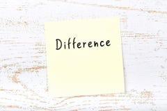 Κίτρινη κολλώδης σημείωση για το ξύλινο γραφείο με τη χειρόγραφη διαφορά κειμένων στοκ φωτογραφίες