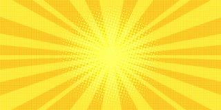 Κίτρινη λαϊκή τέχνη υποβάθρου ακτίνων διανυσματική απεικόνιση
