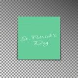 Κίτρινη μετα σημείωση γραφείων με την ημέρα του ST Patricks κειμένων Αυτοκόλλητη ετικέττα φύλλων εγγράφου με τη σκιά που απομονών διανυσματική απεικόνιση