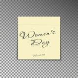 Κίτρινη μετα σημείωση γραφείων με την ημέρα των γυναικών κειμένων και στις 8 Μαρτίου ημερομηνίας Η αυτοκόλλητη ετικέττα φύλλων εγ απεικόνιση αποθεμάτων