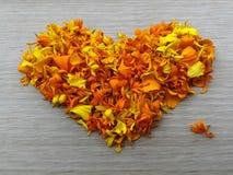 Κίτρινη μορφή καρδιών λουλουδιών στοκ εικόνα με δικαίωμα ελεύθερης χρήσης
