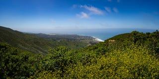 Κίτρινη μουστάρδα σε Montara, Καλιφόρνια και το Ειρηνικό Ωκεανό Στοκ Εικόνες