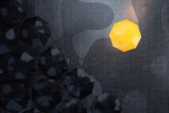 Κίτρινη ομπρέλα μεταξύ σκοτεινών Στοκ Εικόνα