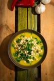 Κίτρινη σούπα κολοκύθας με croutons και το μαϊντανό Στοκ Φωτογραφίες