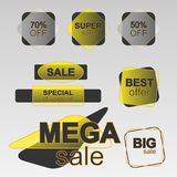 Κίτρινη συλλογή αυτοκόλλητων ετικεττών πωλήσεων ελεύθερη απεικόνιση δικαιώματος