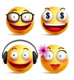 Κίτρινη συλλογή emoticons Emoji ή προσώπων smiley με τις αστείες συγκινήσεις Απεικόνιση αποθεμάτων