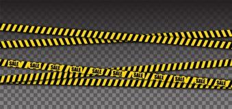 Κίτρινη ταινία προειδοποίησης αστυνομίας με το κείμενο πώλησης Στοιχείο εμβλημάτων πώλησης απομονωμένος διάνυσμα στοκ φωτογραφίες με δικαίωμα ελεύθερης χρήσης