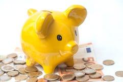 κίτρινη piggy τράπεζα στα ευρο- νομίσματα και τραπεζογραμμάτια στο wh Στοκ Φωτογραφία