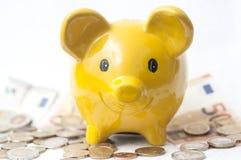 κίτρινη piggy τράπεζα στα ευρο- νομίσματα και τραπεζογραμμάτια στο wh Στοκ Εικόνες