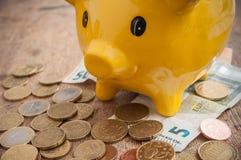Κίτρινη piggy τράπεζα στα ευρο- νομίσματα και τραπεζογραμμάτια στο wo Στοκ Εικόνες