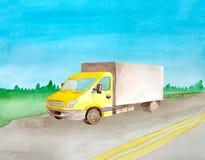 Κίτρινη van truck οδήγηση Watercolor σε έναν μεγάλης απόστασης δρόμο ασφάλτου σ απεικόνιση αποθεμάτων
