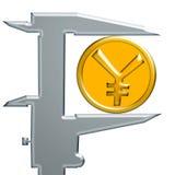Κίτρινοι ασιατικοί νόμισμα και χάλυβας caliÐ ² ER Στοκ φωτογραφία με δικαίωμα ελεύθερης χρήσης