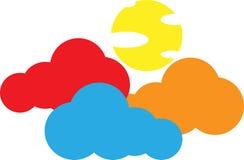 Κίτρινος ήλιος και ζωηρόχρωμα σύννεφα διανυσματική απεικόνιση