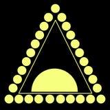 Κίτρινος αποτελούμενος κύκλος τριγώνων, γραμμή, απομονωμένο μαύρο backgrou Ελεύθερη απεικόνιση δικαιώματος