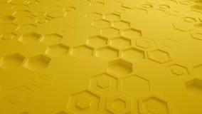 Κίτρινος αφηρημένος Hexagon γεωμετρικός άνευ ραφής βρόχος 4K UHD επιφάνειας Μπροστινή όψη απεικόνιση αποθεμάτων