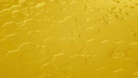 Κίτρινος αφηρημένος Hexagon γεωμετρικός άνευ ραφής βρόχος 4K UHD επιφάνειας Μπροστινή όψη ελεύθερη απεικόνιση δικαιώματος