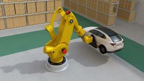 Κίτρινος βαρέων βαρών ρομποτικός βραχίονας που φέρνει άσπρο SUV στο κέντρο διοικητικών μεριμνών απεικόνιση αποθεμάτων