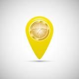 Κίτρινος δείκτης για τους χάρτες με το ρολόι απεικόνιση αποθεμάτων