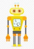 Κίτρινος εύθυμος χαρακτήρας ρομπότ κινούμενων σχεδίων Στοκ Εικόνες