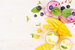 Κίτρινος και ιώδης καταφερτζής φρούτων στα βάζα γυαλιού με το άχυρο, τα φύλλα μεντών, τις φέτες μάγκο και το μούρο, τοπ άποψη Στοκ εικόνα με δικαίωμα ελεύθερης χρήσης