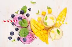 Κίτρινος και ιώδης καταφερτζής φρούτων στα βάζα γυαλιού με το άχυρο, φύλλα μεντών, φέτες μάγκο, μούρο, τοπ άποψη Στοκ φωτογραφία με δικαίωμα ελεύθερης χρήσης