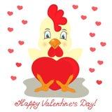 Κίτρινος κόκκορας με την κόκκινη καρδιά Συγχαρητήρια στην ημέρα βαλεντίνων ` s του ST Ελεύθερη απεικόνιση δικαιώματος
