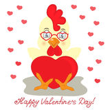 Κίτρινος κόκκορας στα γυαλιά με την κόκκινη καρδιά Συγχαρητήρια στην ημέρα βαλεντίνων ` s του ST ελεύθερη απεικόνιση δικαιώματος