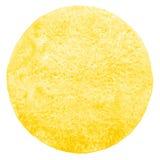 Κίτρινος κύκλος watercolor με την ανώμαλη άκρη Στοκ Φωτογραφία