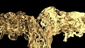 Κίτρινος παφλασμός νερού με τις φυσαλίδες του αέρα με την άλφα μεταλλίνη απόθεμα βίντεο