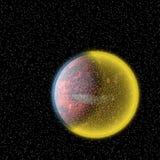 Κίτρινος πλανήτης στον κόσμο και νυχτερινός ουρανός με τα αστέρια απεικόνιση αποθεμάτων