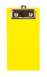 Κίτρινος πλαστικός δίσκος ψαλιδίσματος, για την τιμολόγηση, διαταγή εστιατορίων, σημείωση, συνδετήρας, που απομονώνεται στο λευκό στοκ φωτογραφία με δικαίωμα ελεύθερης χρήσης
