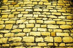 Κίτρινος δρόμος τούβλου Στοκ Φωτογραφίες