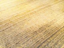 Κίτρινος τομέας φθινοπώρου με μια θυμωνιά χόρτου μετά από τη τοπ άποψη συγκομιδών, που συγκομίζει στους τομείς στοκ φωτογραφία