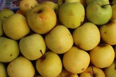 Κίτρινος ώριμος έτοιμος να φάει τα φρούτα μήλων Στοκ Φωτογραφίες