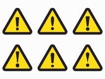 Κίτρινου και μαύρου τριγώνων προειδοποίησης εικονίδιο προειδοποιητικών σημαδιών, Στοκ Εικόνα