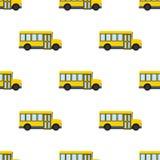 Κίτρινο άνευ ραφής σχέδιο εικονιδίων σχολικών λεωφορείων Στοκ φωτογραφία με δικαίωμα ελεύθερης χρήσης