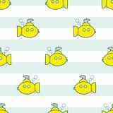 Κίτρινο άνευ ραφής σχέδιο υποβρυχίων Στοκ Φωτογραφία
