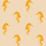 Κίτρινο άνευ ραφής υπόβαθρο Seahorses Στοκ Φωτογραφία