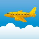 Κίτρινο αεροπλάνο σε ένα υπόβαθρο του μπλε ουρανού και των άσπρων σύννεφων Ύφος κινούμενων σχεδίων διάνυσμα απεικόνιση αποθεμάτων