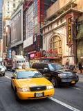 Κίτρινο αμάξι της Νέας Υόρκης στο στο κέντρο της πόλης Μανχάταν Στοκ φωτογραφίες με δικαίωμα ελεύθερης χρήσης