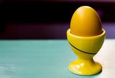 Κίτρινο αυγό Πάσχας στο μεταφορέα αυγών Στοκ φωτογραφία με δικαίωμα ελεύθερης χρήσης